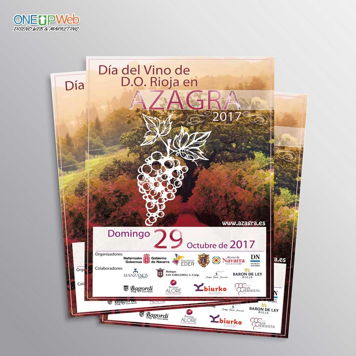 Cartel publicitario Ayuntamiento Azagra Dia del Vino